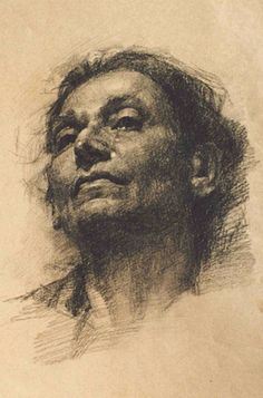 """Nani"" by Yury Kushevsky, charcoal and graphite {figurative art female head elderly woman face portrait drawing}"