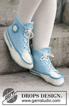 Let's Walk / DROPS Extra 0-1378 - Crochet slippers for Easter in DROPS Nepal.