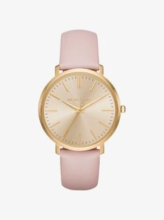 Exclusively Ours in Michael Kors stores and on michaelkors.com until 7/30/16. Exceptionally sleek and streamlined, this polished timepiece features a slim silhouette that gives it a minimalist look and feel. With a luxe leather strap and gold-tone stainless steel case, our new Jaryn watch offers a fresh take on an essential accessory. Elevate this classic style by pairing it with gilded bracelets.