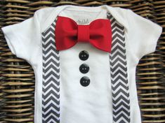 Baby Boy Clothes - Baby Tuxedo Bodysuit - Red Bow Tie With Grey Chevron Suspenders - cute!!