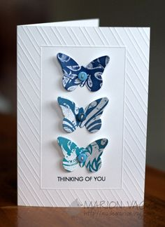 I used a MFT butterfly die. Easy! Oh and the dry embossed border was done on my scoreboard.