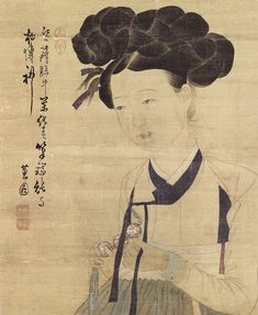 (Korea) Portrait of a Beauty (detail)  by Hyewon Shin Yun-bok (1758- ?). color on paper. Gansong gallery, Korea.