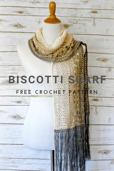 Crochet Scarf Design Biscotti Scarf free crochet pattern in It's a Wrap Rainbow yarn from Pattern Paradise. - 12 Weeks of Christmas Crochet Lace Scarf, Crochet Beanie, Crochet Scarves, Crochet Yarn, Crochet Clothes, Crochet Stitches, Knit Cowl, Hand Crochet, Crochet Patterns For Scarves