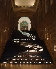 Candles snaked down the staircase at the Metropolitan Museum of Art in New York for a private corporate event. Photo: Courtesy of David Beahm. To see David Beahm speak at BizBash IdeaFest South Florida on April 10, 2013, register here: http://www.bizbash.com/ideafestfl