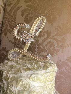 custom monogram wedding cake toppers with lace by TheCrystalFlower, $115.00