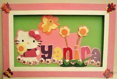 Nombre Yanira / Hello Kitty / Goma EVA / Craft Foam ,  A Mano / Handmade / Personalizado / Diferente / Unique.  www.gomaindociles.com