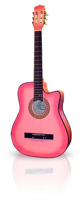 most fabulous pink stuff | Pink Guitar 3/4 Acoustic Cutaway From The Pink, Play Music With Flare ...