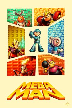 What a great retro poster showing Mega Man and the first six bosses that…
