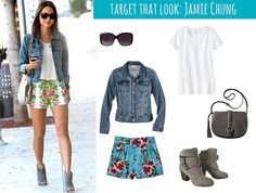 Target That Look: Jamie Chung   Style On Target   Hawaiian print shorts, jean jacket, celebrity style on a budget