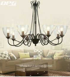 Find More Chandeliers Information about Modern art deco Led Black Iron chandeliers lights fixtures with Glass lampshade for the living room bedroom Kitchen,High Quality Chandeliers from DPG Lighting on Aliexpress.com