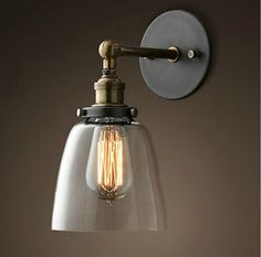Factory Filament Clear Glass Cloche Sconce - RH's C. Factory Filament Clear Glass Cloche Sconce:Evoking industrial lighting, our reproductions of vintage fixtures retain the classic lines and exposed hardware of the originals. Vintage Wall Sconces, Modern Sconces, Loft Lampe, Retro Lampe, Mirror Lamp, Wall Lamps, Clock Wall, Bedside Lamp, Bathroom Wall Lights