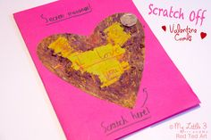 Surprise loved ones with Scratch Off Secret Message Valentine's Day Cards! A fun Valentine's Day craft for everyone!
