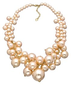 A Pearl Affair Pink and Gold Cluster Necklace