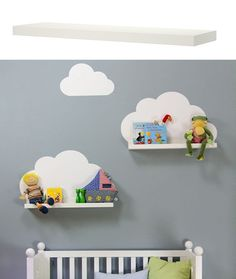 { DIY } cloud shelves using ikea ribba ledges and a wall decal (or paint directly onto wall) Baby Bedroom, Baby Boy Rooms, Nursery Room, Girls Bedroom, Nursery Decor, Nursery Ideas, Kids Rooms, Ikea Nursery, Clouds Nursery
