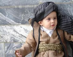 Kurdish boy from Iraq in Traditional clothes. silhouette idea