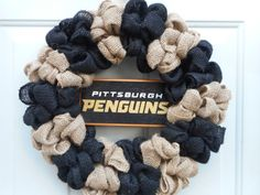 Pittsburgh Penguins wreath, Penguins wreath, NHL wreath, Burlap wreath, Sports wreath, Hockey wreath, Pens wreath, Ready to ship