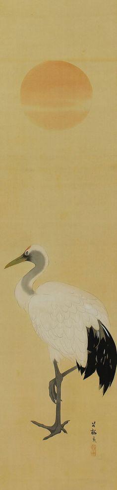 Standing Crane. Nishizawa Tekiho (1889-1965). Japanese hanging scroll painting.