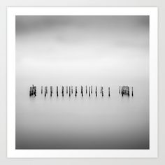 Wooden sticks in lagoon water. Art Print by kostaspavlis Square Art, Long Exposure, From The Ground Up, Buy Frames, All Over The World, Printing Process, Sticks, Monochrome, Gallery Wall