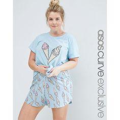 ASOS CURVE Ice Cream Print Tee  amp  Short Pyjama Set (47 BRL) ❤ · Plus Size  ... 855e3bf6f