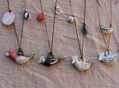ceramic art bird necklaces