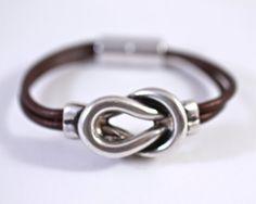 Silver+Love+Knot+Leather+Bracelet+Bangle+Bracelet+by+amyfine