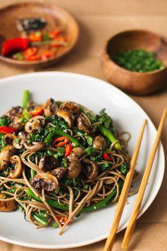 roasted teriyaki mushrooms and broccolini soba noodles — sobremesa | dairy free vegetarian recipes best shared