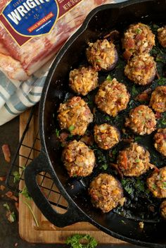 Bacon and Cheddar Stuffed Mushrooms are made by stuffing earthy cremini mushrooms with loads of thick-sliced Wright® Brand Bacon and sharp cheddar cheese, making them an irresistible appetizer for any occasion! Bacon Recipes, Appetizer Recipes, Dinner Recipes, Appetizers, Fun Recipes, Recipies, Stuffed Mushrooms Cream Cheese, Stuffed Peppers, Mushroom Recipes