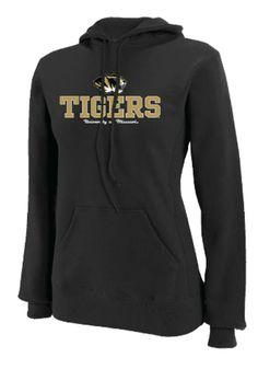 8db8b3803ed Missouri (Mizzou) Tigers Womens Black Stacked Mascot Hooded Sweatshirt http    www