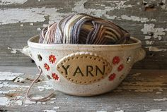 Yarn Bowl White - Flower Basket