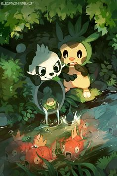 e621 ambiguous_gender bear bluekomadori budew chespin fish forest group hi_res magikarp mammal marine nintendo outside pancham panda pokémon river tree video_games water