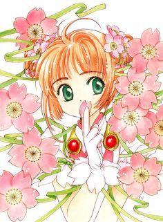"inthewired: ""Sakura Kinomoto from Cardcaptor Sakura art by CLAMP Sakura in the sakura. Cardcaptor Sakura, Syaoran, Sakura Sakura, Art Manga, Manga Artist, Manga Anime, Manga Illustration, Illustrations, Kawaii"