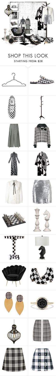 """""""...today's outfit will be..mm.. Black and White. And people wondered where she got her inspiration from."""" by tgtigerlily ❤ liked on Polyvore featuring Nomess, Gucci, Vans, McQ by Alexander McQueen, Off-White, Roberta Di Camerino, STELLA McCARTNEY, Boohoo, Uma and Moooi"""