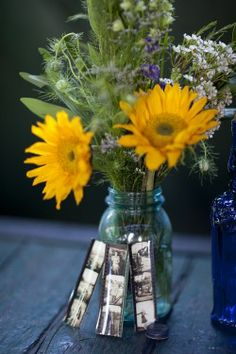 Sunflower-Centerpiece & photos, could do red sunflowers too!