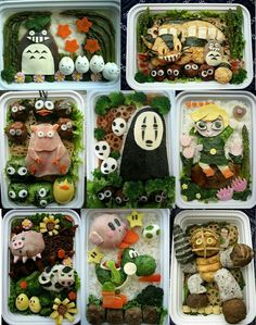 Studio Ghibli, characters, cute, Yoshi, Kirby, Super Smash Bros, The Legend of Zelda, Link, crossover, onigiri, rice balls, bento, boxed lunch; Anime Food