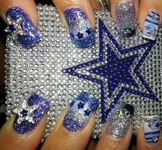 Dallas Cowboys Nails--lots of bling! Dallas Cowboys Nail Designs, Football Nail Designs, Dallas Cowboys Nails, Football Nails, Dallas Cowboys Baby, Nail Designs Bling, Colorful Nail Designs, Nail Art Designs, Fan Nails
