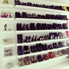 you will ALWAYS have room for shoes as long as you have walls #floatingshelves