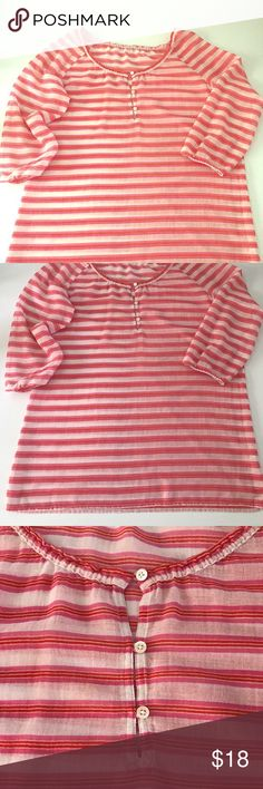 Jcrew beach/pool swim coverup tunic Jcrew pink, orange, & white striped swim coverup/ tunic. Lightweight 100% cotton. Has a small pick in one arm that is barely noticeable. Otherwise in excellent condition.  Feel free to leave any questions in the comments below and I will be happy to answer.   🚫No trades at this time, Sorry!🚫 J. Crew Swim Coverups