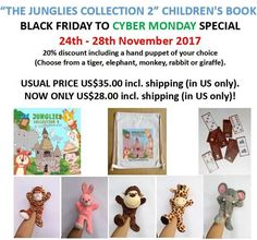 """Black Friday / Cyber Monday special for """"The Junglies Collection 2"""" children's book.   Pricing for US only. For other countries please contact me for pricing."""