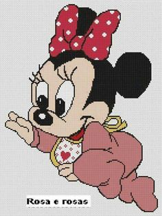 Baby Minnie Mouse x-stitch Baby Mouse, Mini Mouse, Pull Bebe, Mickey Y Minnie, Living At Home, Disney Pictures, Crochet Baby, Cross Stitch Patterns, Creations