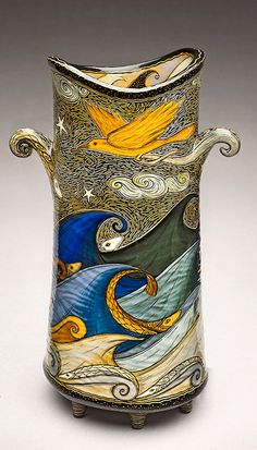Terri Kern - Sculptural Ceramic Vessel with Yellow Bird and Vivid Blue Waves
