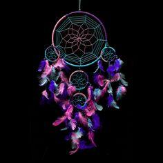 "Dream Catcher ~ Handmade Traditional Aqua Blue, Pink & Purple 8.5"" Diameter & 24"" Long!"