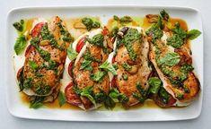 Recipes for sprrrriiiiing!recipes for sprrrriiiiing! Chicken Milanese, Chicken Cutlets, Caprese Chicken, Mozzarella Chicken, Caprese Pasta, Speedy Dinners, Herb Salad, Pasta Primavera, Summer Tomato