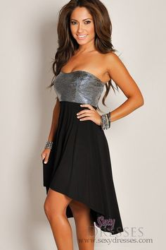 Shining Silver and Black High Low Strapless Dress