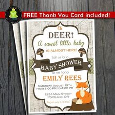 Woodland Baby Shower Invitation  FREE Thank by ForeverYourPrints, $12.00