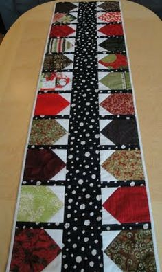 """Mrs Moen Free patterns- Building A Village This table runner measures 14 1/2"""" x 52"""", made with 22 house blocks with sashing between. It's easy to adjust the length by adjusting the number of houses. One finished house/sashing unit measures 4 3/4"""" wide. http://mrsmoenfreepatterns.blogspot.com/search?updated-max=2009-11-25T22:10:00%2B01:00&max-results=7"""