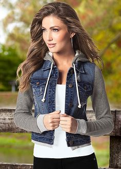 A cute crop on a sporty denim jacket is just what you need for the start of fall! Perfect for when the temps start to dip and you're looking for a grab-and-go piece to keep you cozy & comfortable no matter where you're going. Pick up this piece or browse for even more chic styles only at Venus.com!