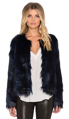 Unreal Fur Unreal Dream Faux Fur Jacket in Midnight Blue