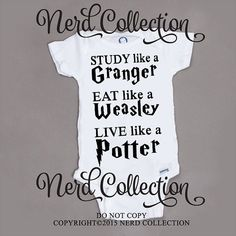 Baby onesie hogwarts harry potter granger weasley study eat live baby shower gift nursery custom baby clothing toddler t shirt gerber Harry Potter Nursery, Harry Potter Baby Shower, Harry Potter Baby Clothes, Baby Boys, Baby Shower Gifts, Baby Gifts, Onesies, Baby Onesie, Everything Baby