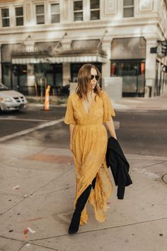 Mustard lace romper-long dress+black over the knee suede boots+black coat+sunglasses+black crosssbody bag. Fall Dressy Casual / Going Out/ Evening Outfit 2017