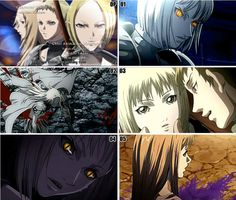 """One picture per episode ... Anime:..  Claymore In this world, humans coexist with demonic predators called Yoma These demonic beasts feast on human innards and can blend into human society by taking on human appearance As a counter force, a mysterious organization created half-human, half-Yoma warriors known as the """"Silver Eyed Witches"""" or """"Claymores"""", after the huge claymore swords they carry. They are detested by humanity however necessary. The story begins with a young boy, Raki."""